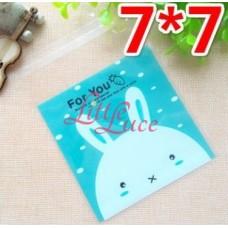 Plastik Cookies 7x7 Bunny Blue