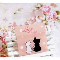 Plastik Cookies 7x7 Love Cat Pink
