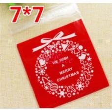 Plastik Cookies 7x7 Christmas Wreath Red
