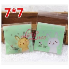 Plastik Cookies 7x7 Bunny Bird Green