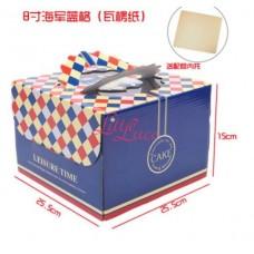 Cake Box Blue Grid 25cm