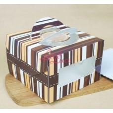 Cake Box Brown Stripe 16.5cm
