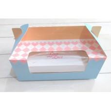 Cupcake Box 6 Blue Plaid