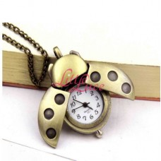 Pocket Watch Necklace Bronze Lady Bug