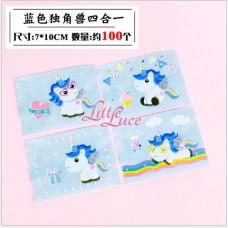 Plastik Cookies 7x9 Blue Unicorn